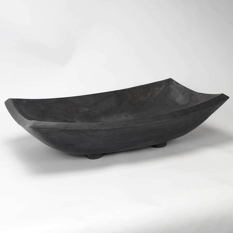 Vasque Poser Rectangulaire Pierre Noire Plume Vasques Simples