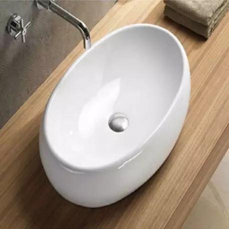 vasque a poser ovale ceramique 60x40 cm swann