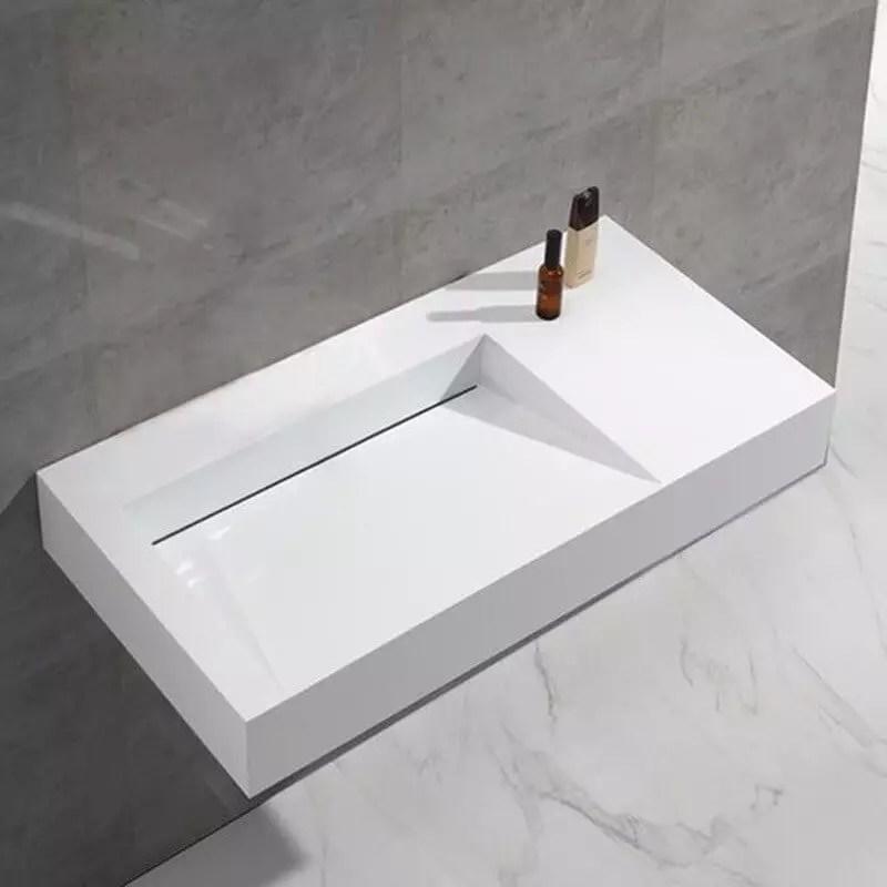 Lavabo Rectangle Blanc Mat Lodge Lavabo Suspendu Composit
