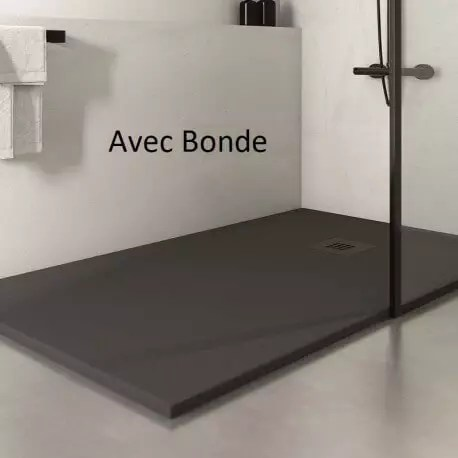receveur de douche extra plat rectangulaire bonde carre solid surface anthracite mineral
