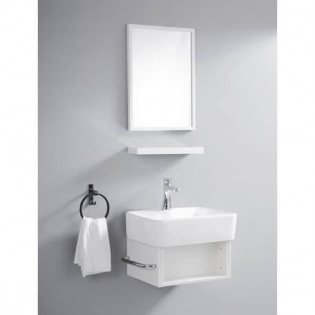 ensemble petit meuble de salle de bain blanc creme 48x37 cm evoc
