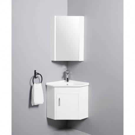 meuble de salle de bain d angle gain de place lave main blanc creme 42x42 cm corner