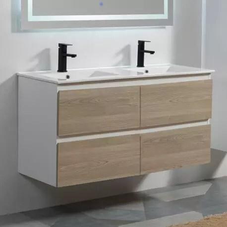 meuble de salle de bain 4 tiroirs blanc et chene gris double vasque 120x46 cm scandinave