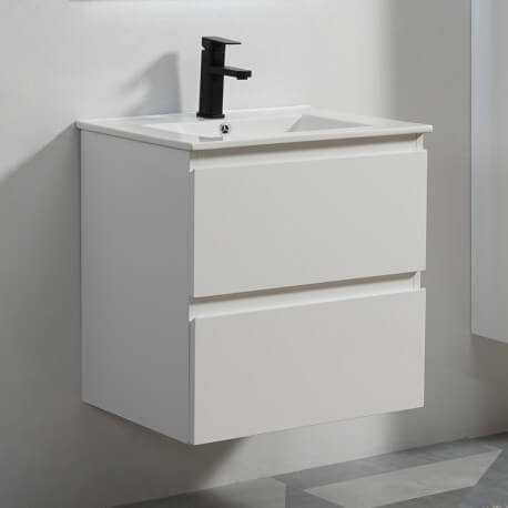 meuble de salle de bain 2 tiroirs blanc vasque 60x46 cm city