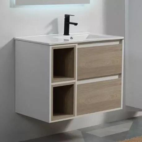 meuble de salle de bain 2 tiroirs 2 niches blanc et chene gris vasque 80x46 cm scandinave