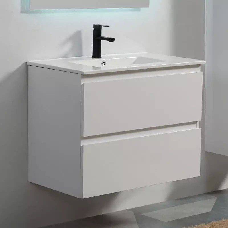 vasque tiroirs et miroir led 80 cm