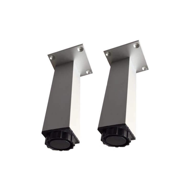 lot de 2 pieds carres en aluminiums reglables pour meuble de salle de bain 25 cm