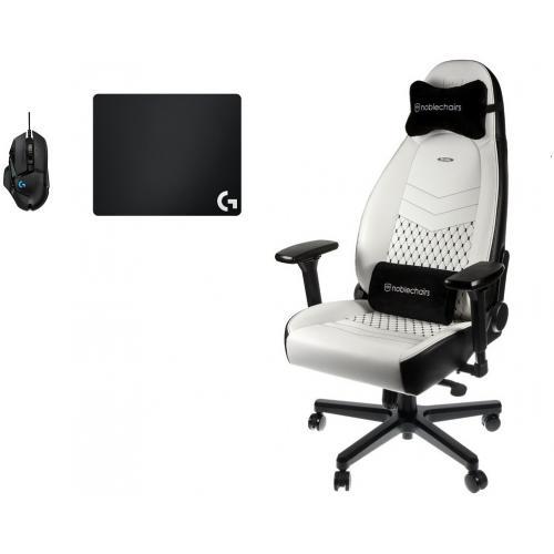 chaise gamer icon blanc noir souris g502 hero tapis de souris g240