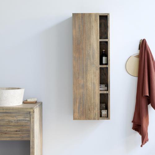 colonne de salle de bain suspendue en bois d hevea 100 cm