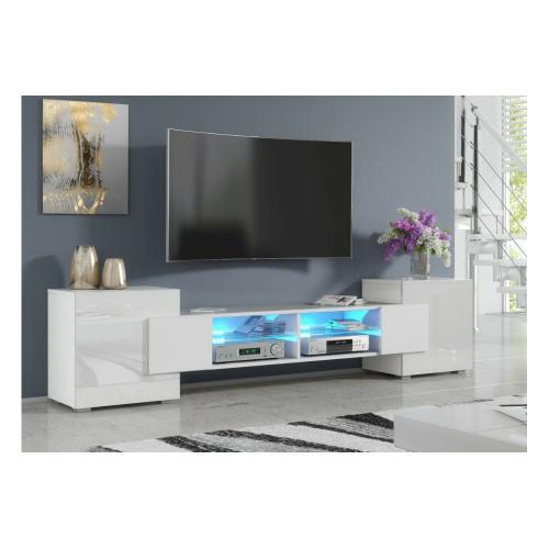 meuble tv pablo 230 cm avec led blanc mat et blanc laque
