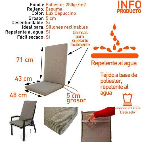 lot de 2 coussins pour fauteuil inclinable de jardin couleur luxe capuccino