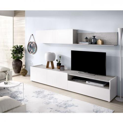 meuble tv meuble hi fi meuble tv decor blanc beton l 200 x p 41 x h 180