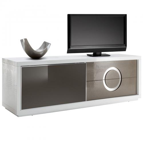 meuble tv acapulco en mdf blanc et cappuccino effet croco