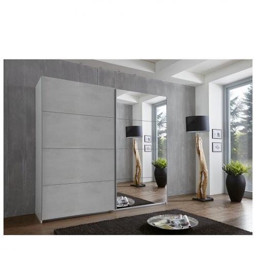 armoire de rangement 2 portes coulissantes edwig 225 cm gris beton miroir