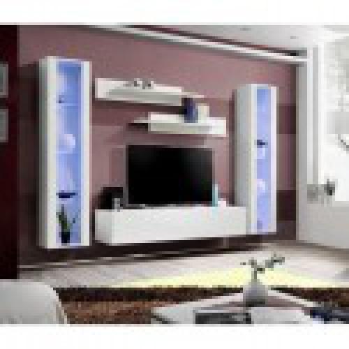 meuble tv fly a2 design coloris blanc brillant led meuble suspendu moderne