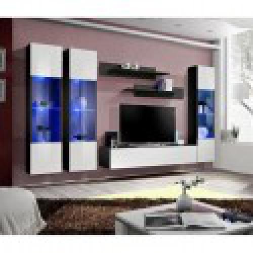 meuble tv fly c3 design coloris noir et blanc brillant meuble suspendu moderne