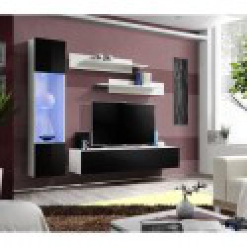 meuble tv fly g3 design coloris blanc et noir brillant meuble suspendu moderne