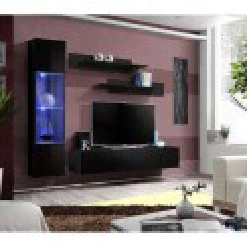 meuble tv fly g3 design coloris noir brillant meuble suspendu moderne et