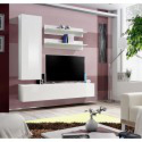 meuble tv fly h1 design coloris blanc brillant meuble suspendu moderne et