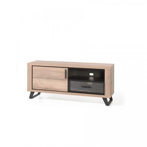 meuble tele 145 cm industriel couleur chene naturel kook