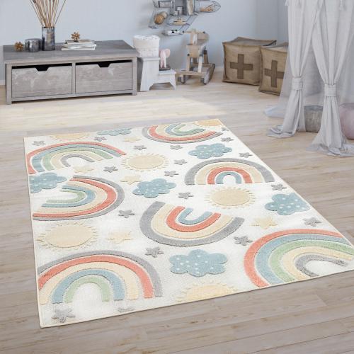 tapis chambre enfant tapis de jeux garcon fille 3d motif arc en ciel beige