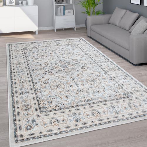 tapis de salon poils ras motif oriental avec ornements gris beige bleu