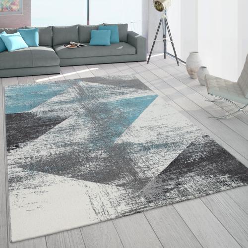 tapis frise poils ras pour salon look use tons pastel turquoise gris