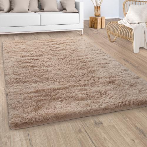 tapis shaggy tapis de salon fausse fourrure poil long moelleux monochrome beige