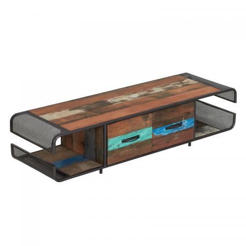meuble tv en fer bois 2 tiroirs seattle n 2