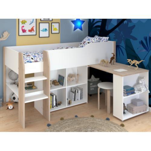 lit combine maria avec bureau et rangements 90 x 200 cm coloris blanc