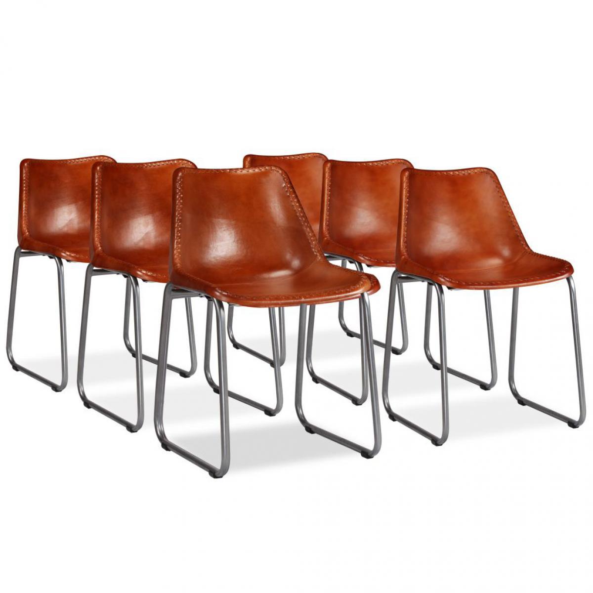 chaise salle manger cuir marron