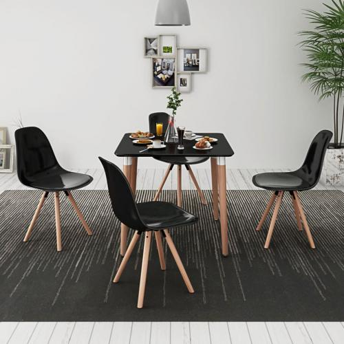 vidaxl ensemble de table et de chaises 5 pieces noir