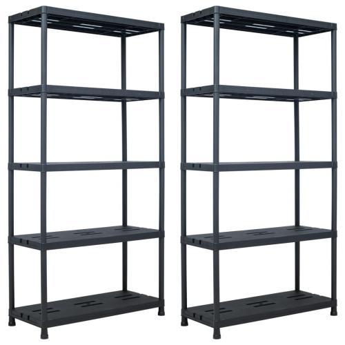 vidaxl etageres de rangement 2 pcs noir 260 kg 90x40x180 cm plastique
