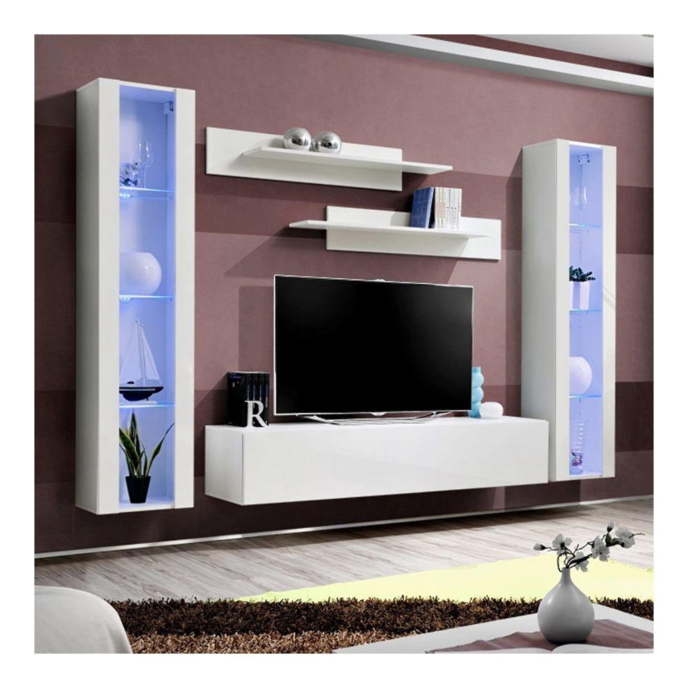 nouvomeuble meuble tele suspendu blanc janina