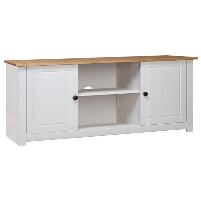 vidaxl meuble tv blanc 120x40x50 cm pin massif assortiment panama