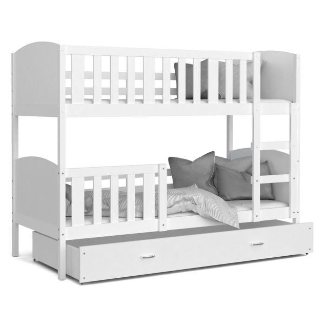 lit superpose tomy 90x190 blanc blanc livre avec tiroir 2 sommiers et 2