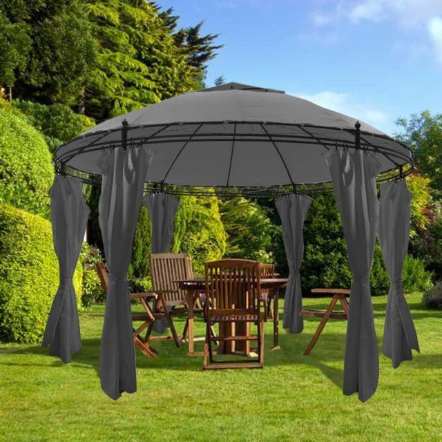vidaxl belvedere rideaux rond 3 5x2 7 m anthracite jardin tonelle pavillon