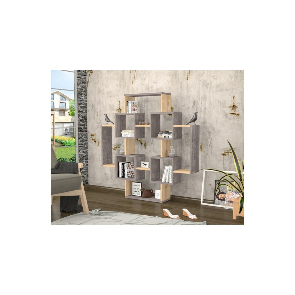 homemania homemania bibliotheque gant avec etageres meuble de rangement pour salon gris chene en bois 123 6 x 22 x 123 6 cm