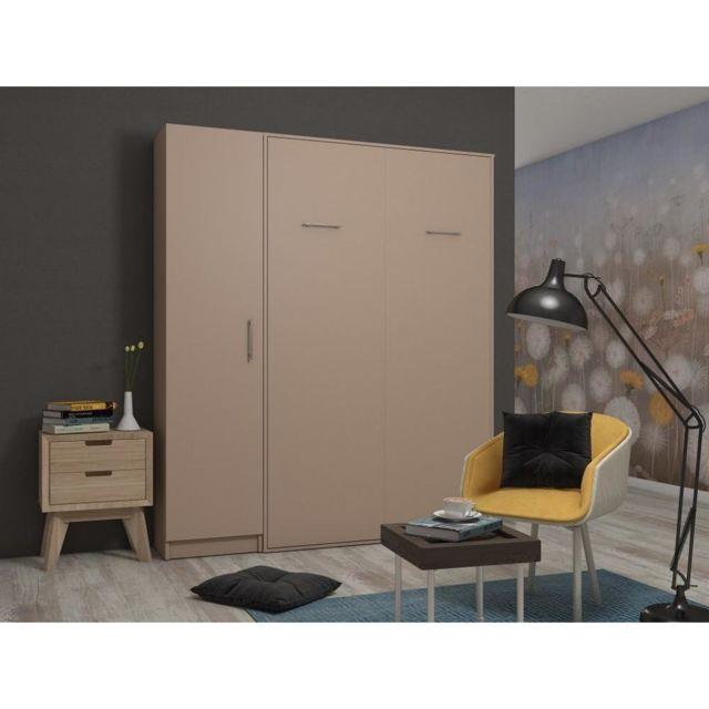 composition armoire lit escamotable smart v2 taupe mat couchage 140 x 200 cm