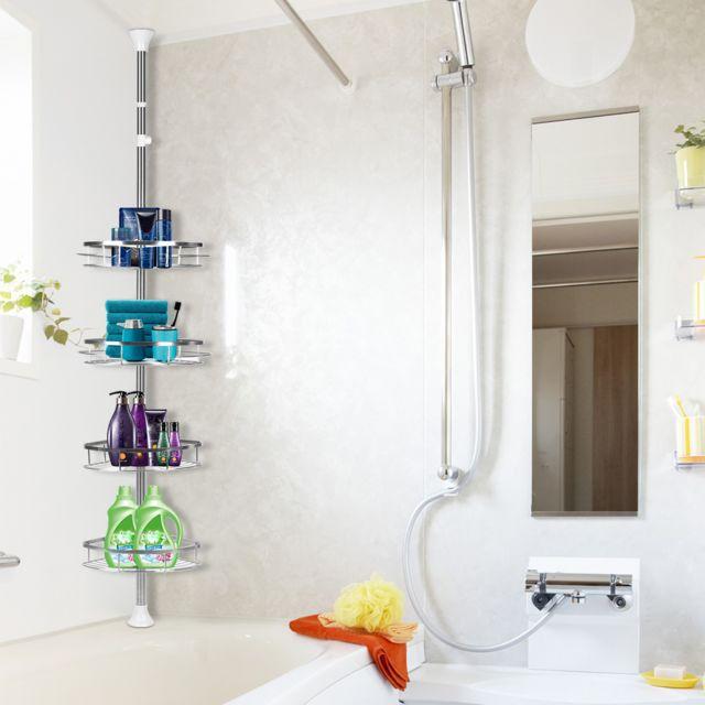 etagere de douche telescopique re murale pour salle de bain acier inox