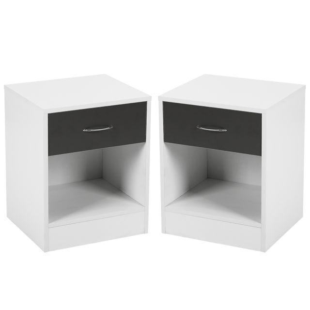 la table de nuit chevet meuble chambre 2 pcs blanc noir 50 34 5 40cm