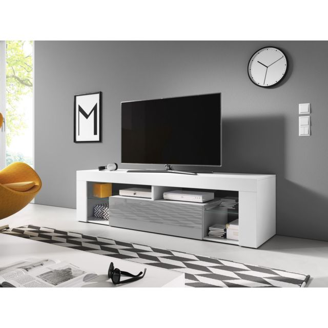 vivaldi meuble tv everest 2 140 cm blanc mat gris brillant style