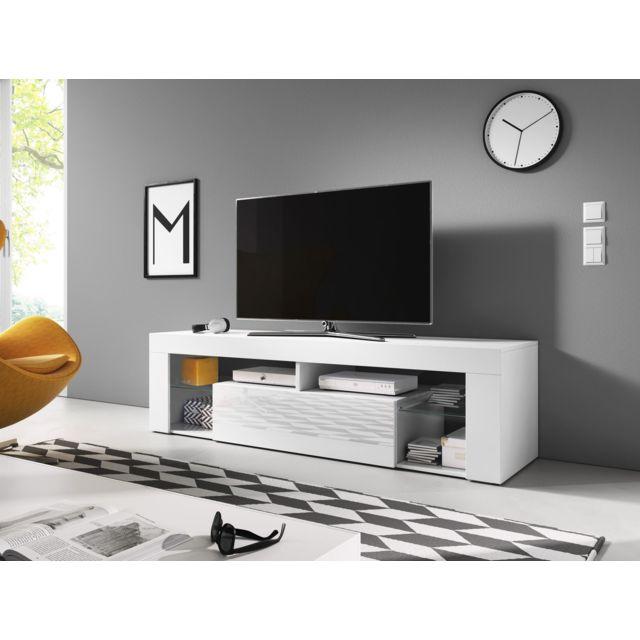 vivaldi meuble tv everest 2 140 cm blanc mat blanc brillant style