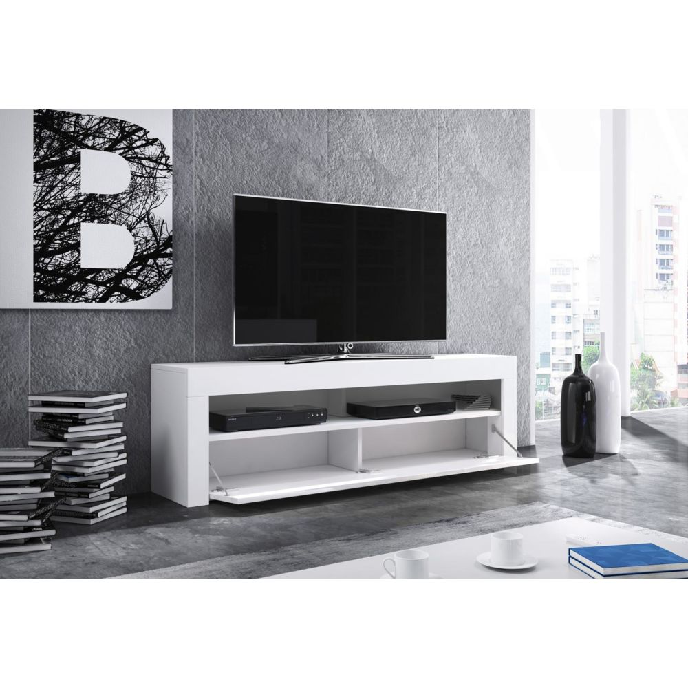 vivaldi vivaldi meuble tv mex 2 140 cm blanc mat gris brillant style moderne