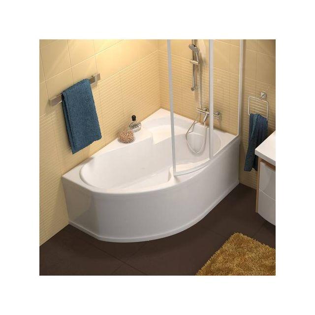 baignoire d angle asymetrique ravak rosa 140 droite avec tablier