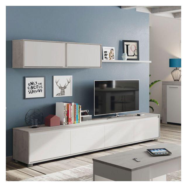 composition tv blanc beton cire clair ruinui l 200 x l 41 x h 43 cm