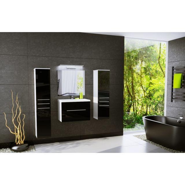 salle de bain aquatic 4 elements noir laque et blanc mat