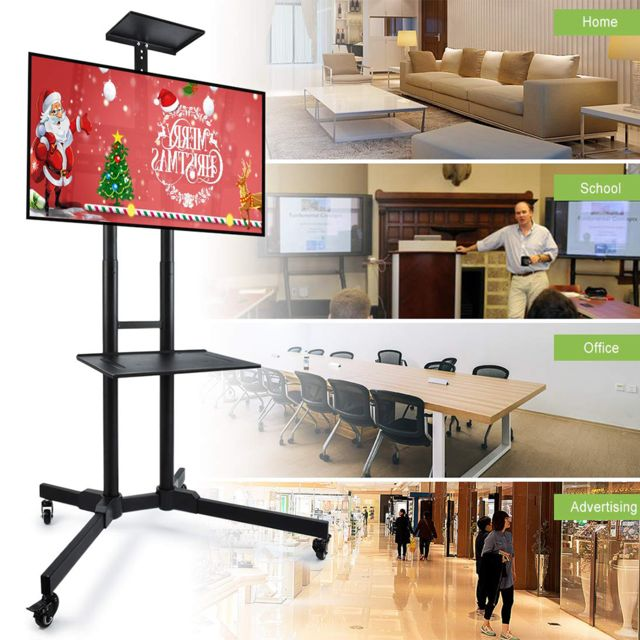 chariot meuble tv avec roulette support tele pied pivotant pour ecran de 32 a