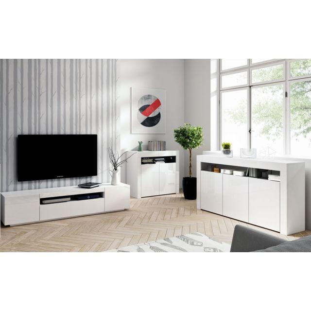 ensemble meubles de salon blanc 3 meubles moinschercuisine