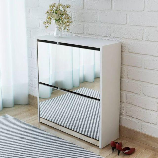 vidaxl meuble a chaussures 2 etages avec miroir 63 x 17 x 67 cm blanc
